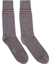 Paul Smith - Grey Pin Dot Socks - Lyst
