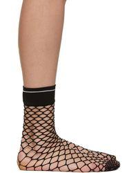 Prada - Black Logo Fishnet Sock - Lyst