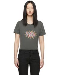 e607333939 Saint Laurent T-shirt In Off-white Jersey Printed With Ysl in ...