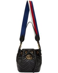 Lyst - Gucci Black Suede Quilted GG Marmont 2.0 Bucket Bag in Black bc57745641aad