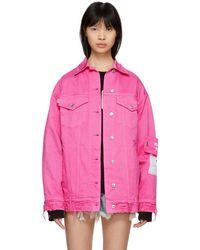 MSGM - Pink Oversized Pocket Denim Jacket - Lyst