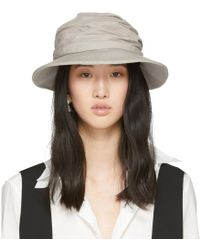 Y's Yohji Yamamoto - Beige Gather Cloche Hat - Lyst