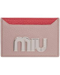 Miu Miu - Pink Colorblock Big Logo Card Holder - Lyst