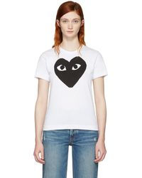 Play Comme des Garçons - White & Black Heart T-shirt - Lyst