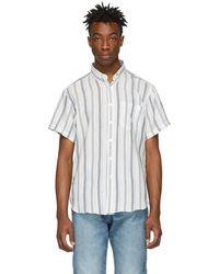 Naked & Famous - White Stripe Boucle Easy Shirt - Lyst