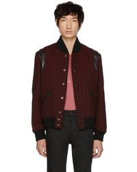 Saint Laurent - Red And Black Teddy Bomber Jacket - Lyst