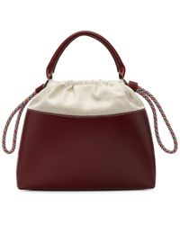 Carven - Burgundy Canvas And Leather Tote - Lyst