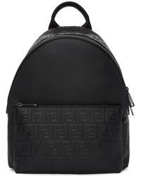 Fendi | Black Embossed Signature Backpack | Lyst