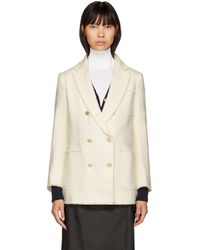 Thom Browne - White Double-breasted Sack Blazer - Lyst