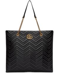 Gucci - Black Oversized Gg Marmont 2.0 Tote - Lyst