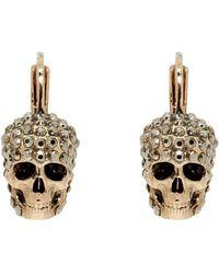 Alexander McQueen - Gold Skull Hoop Earrings - Lyst