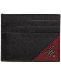 Prada - Black And Red Saffiano Logo Card Holder - Lyst
