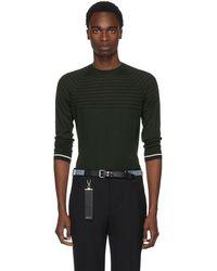 Prada - Green Stripe Knit Crewneck Pullover - Lyst