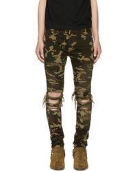 Balmain - Khaki Camo Destroy Slim Jeans - Lyst