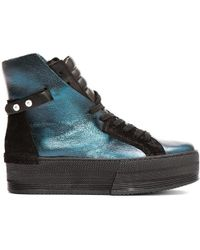 CA by Cinzia Araia - Teal Leather High-rise Platform Trainers - Lyst