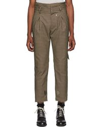 BED j.w. FORD - Brown And Black Plaid High-waisted Trousers - Lyst