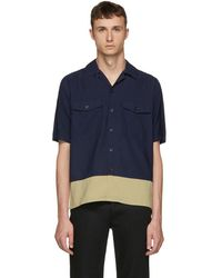 AMI - Navy And Beige Button-up Shirt - Lyst