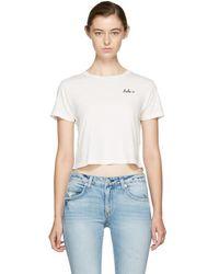 AMO - White Cropped 'babe' T-shirt - Lyst