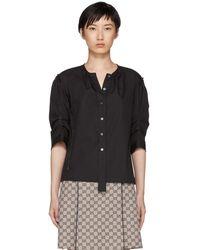 Marc Jacobs - Black Poplin Gathered Shirt - Lyst