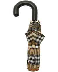Burberry - Beige And Black Check Collapsible Umbrella - Lyst
