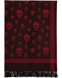 Alexander McQueen - Red And Black Skull Scarf - Lyst