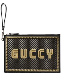 Gucci - Guccy Printed Leather Pouch - Lyst