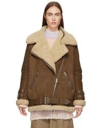 Acne Studios - Brown Suede And Shearling Velocite Jacket - Lyst