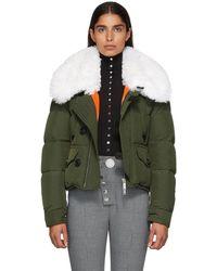 DSquared² - Green Fur Collar Puffer Jacket - Lyst