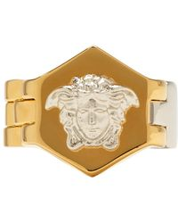 Versace - Silver And Gold Watch Line Medusa Ring - Lyst