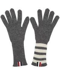 Thom Browne - Grey Rib Cashmere Four Bar Gloves - Lyst