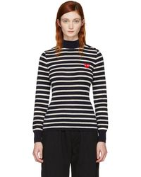 Play Comme des Garçons - Navy Striped Heart Patch Turtleneck - Lyst