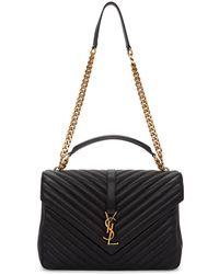 ae5ed334dd4d Lyst - Saint Laurent Black Large College Bag in Black