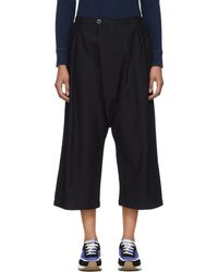 Blue Blue Japan - Navy Wool Flannel High-waisted Trousers - Lyst