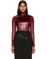 Givenchy - Burgundy Faux-leather Turtleneck Bodysuit - Lyst