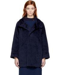 Blue Blue Japan - Navy Faux-fur Coat - Lyst