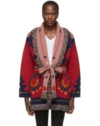Alanui - Red And Multicolor Good Luck Cardigan - Lyst