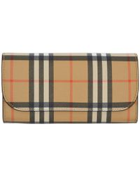 Burberry - Beige And Black Vintage Check Halton Wallet - Lyst