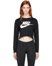 Nike - Black Long Sleeve Nsw Essential Crop T-shirt - Lyst