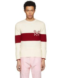 Thom Browne - Red And White Tennis Knit Sweater - Lyst