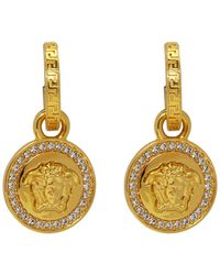 Versace - Gold Greca And Medusa Coin Earrings - Lyst
