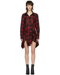 Alexander Wang - Red And Black Check Tie Front Jumpsuit - Lyst