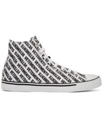 Vetements - White And Black All Over Logo High-top Sneakers - Lyst