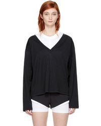 T By Alexander Wang - Black Long Sleeve Deep V T-shirt - Lyst