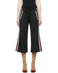 Gucci - Black Cropped Wide-leg Track Pants - Lyst