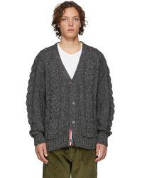 Thom Browne - Grey Aran Cable Raglan Sleeve V-neck Cardigan - Lyst