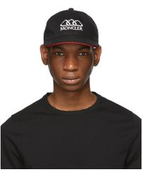 a1bc470ff02 Lyst - Moncler Cotton Twill Baseball Cap in Black for Men