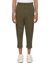 AMI - Green Oversized Carrot Trousers - Lyst