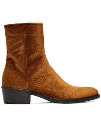 Haider Ackermann - Brown Velvet Celest Chunky Boots - Lyst
