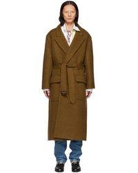 Loewe - Brown Mohair Belted Coat - Lyst