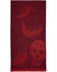 Alexander McQueen - Red Oversized Skulls Scarf - Lyst